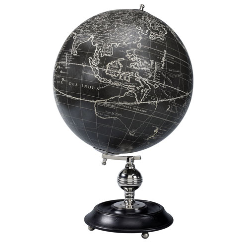 Globe Terrestre Antique Vaugondy noir (reproduction) de AM.